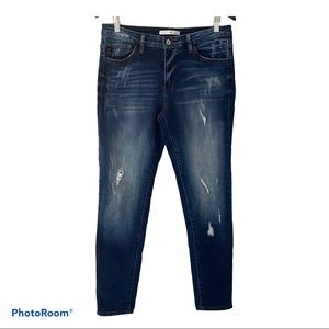KanCan Dark Wash Mid rise Distressed Skinny Jeans